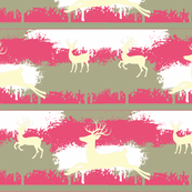 Cream Deer-stripes-  berry