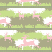 Pink Deer-stripes- meadow