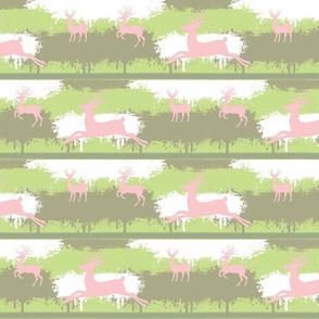 Pink Deer-stripes- meadow