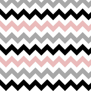 Pink, Gray, and Black Chevron Stripes
