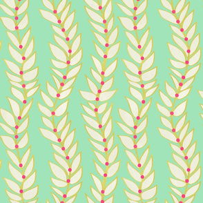 Leaf Dot Stripe Vertical Mint