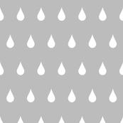 Raindrops white on gray
