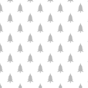 Woodland trees gray on white