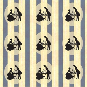 Harland Vintage Blue Stripes Victorian Couple