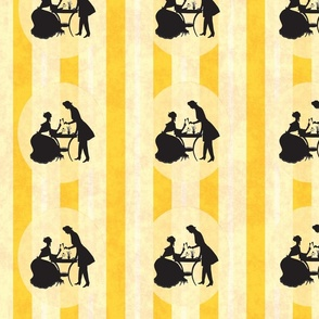 Harland Vintage Yellow Stripes Victorian Couple
