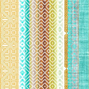 Ethnic Stripe in turquoise and gold