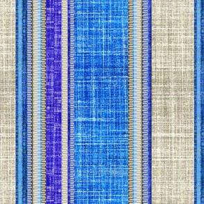 Sapphire faux linen on gray stripe