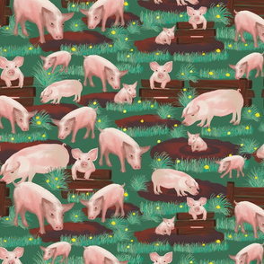pigs on green