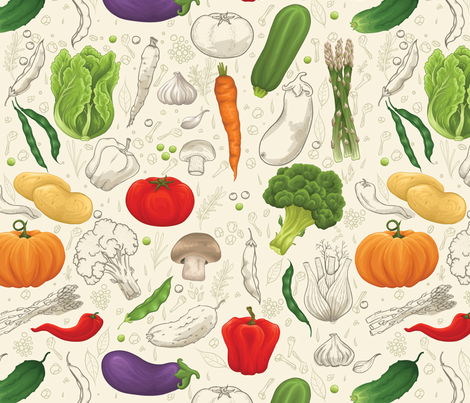 Fresh vegetables fabric by hoverfly on Spoonflower - custom fabric