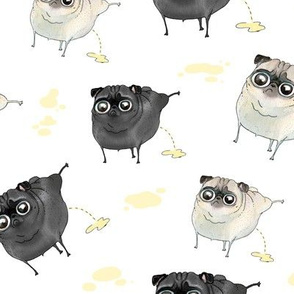 Pee Pilates - Peeing Pugs (black pug and fawn pug)