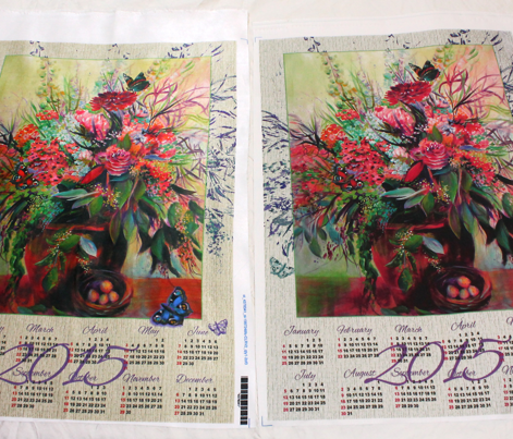 2015 Calendar tea towel with border