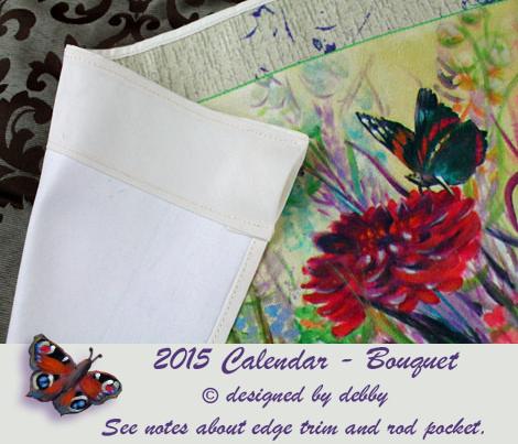 2015 Calendar tea towel with border
