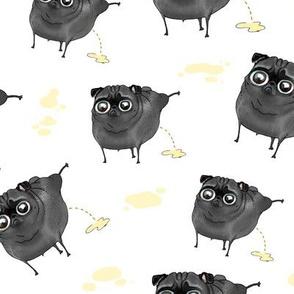 Pee Pilates - Peeing Black Pugs