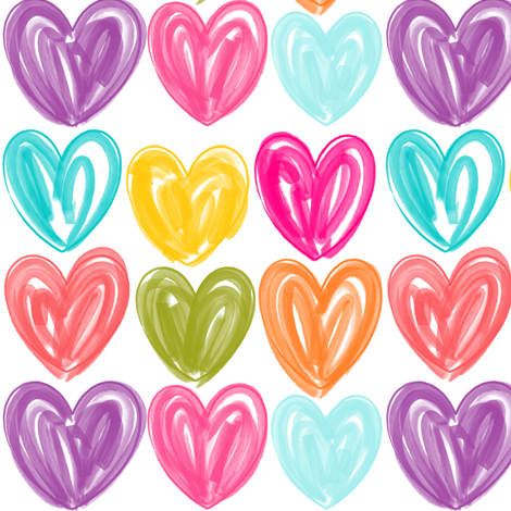 Heart Fingerpaint fabric by natitys on Spoonflower - custom fabric