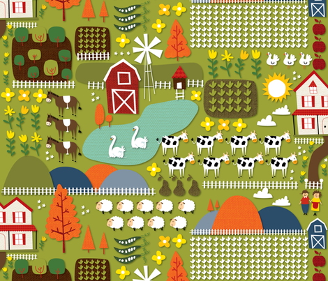 farm fabric by laura_the_drawer on Spoonflower - custom fabric