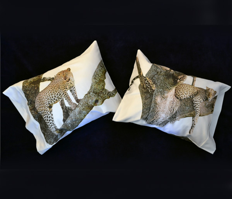 three LEOPARD pillowcases