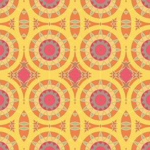 Cheerful Yellow Kaleidoscope Suns