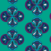 Teal purple circles stained glass
