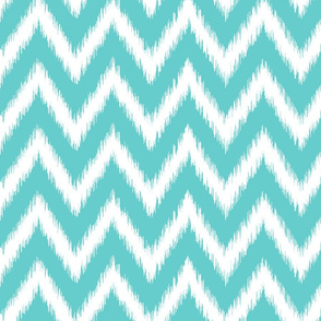 Turquoise and White Ikat Chevron