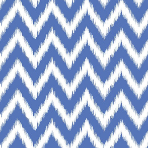 Royal Blue and White Ikat Chevron