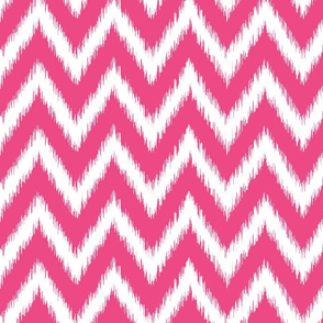 Hot Pink and White Ikat Chevron