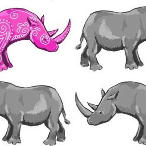 fancy pink rhino struts his stuff