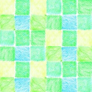 Water Meadows Patchwork Checks - Blue, Green  and Yelow
