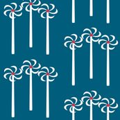 Wind turbines on teal