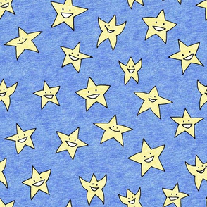 happy stars on blue