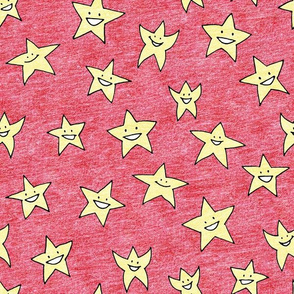 happy stars on red