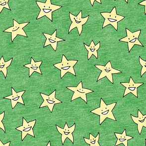 happy stars on green