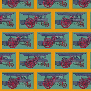 Antique Tractor on Teal with Gold