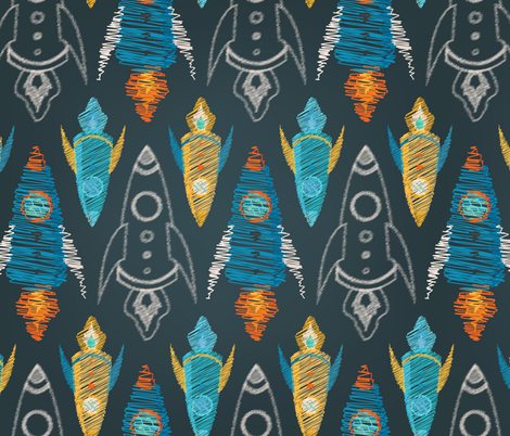 Childish rocket fabric maria bartiromo spoonflower for Rocket fabric