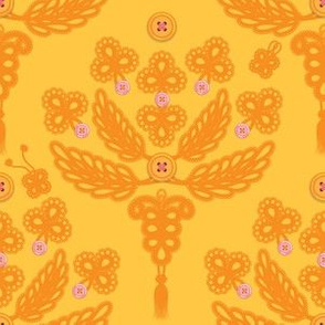Buttoned-up Damask in gold