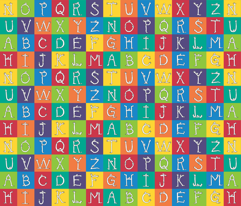 "monster alphabet 3"" blocks fabric by weavingmajor on Spoonflower - custom fabric"