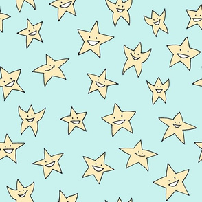happy stars on baby blue