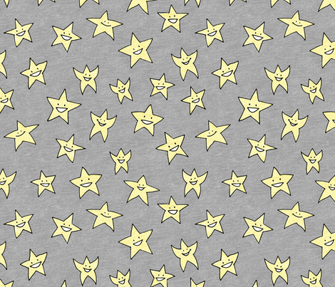 happy stars on grey fabric by weavingmajor on Spoonflower - custom fabric