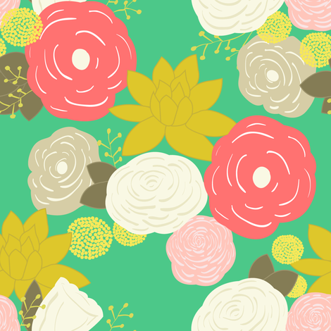 Summertime floral fabric by >>mintpeony<< on Spoonflower - custom fabric