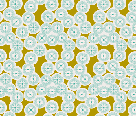 Fox Flowers Olive Small fabric by natitys on Spoonflower - custom fabric