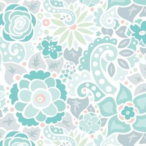 Aqua Doodly Flowers