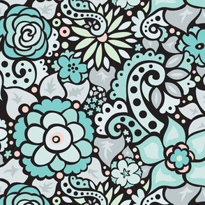 Black & Aqua Doodly Flowers