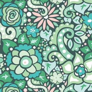 Green Doodly Flowers