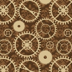 steampunk gears and damask