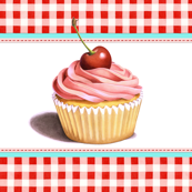 Giant Pink Cupcake with red gingham border