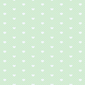 Polka Dot and Heart Soft Green