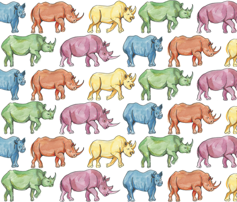 rainbowrhino fabric by bee3 on Spoonflower - custom fabric