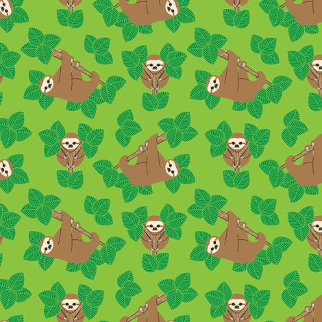 Stanley Sloth fabric by joannepaynterdesign on Spoonflower - custom fabric