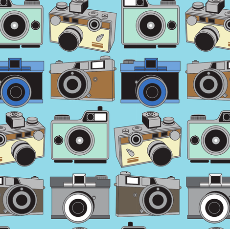 Vintage Cameras fabric by joannepaynterdesign on Spoonflower - custom fabric
