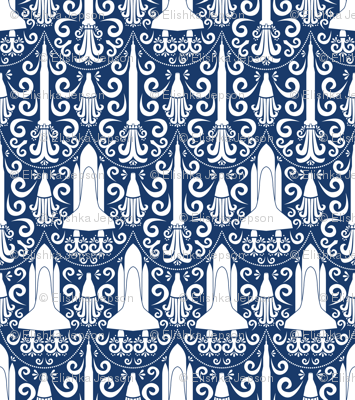Rocket Science Damask (Navy and White)