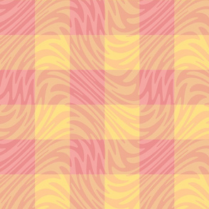 sherbet pink gingham feather